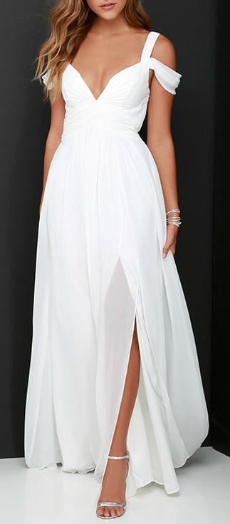 From posh prom or lavish cocktail party, and from sea to shining sea, the Bariano Ocean of Elegance Ivory Maxi Dress will have you in the lap of luxury wherever you may go! Crisp ivory Georgette starts this exquisite ensemble off with tank straps (joined by sheer off-the-shoulder straps) that support a fitted bodice with a plunging sweetheart neckline, and elegant ruching details. #lovelulus
