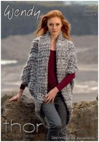 Cocoon Cardigan, Mesh Scarf and Headband in Wendy Thor Super Chunky (5676) Digital Version