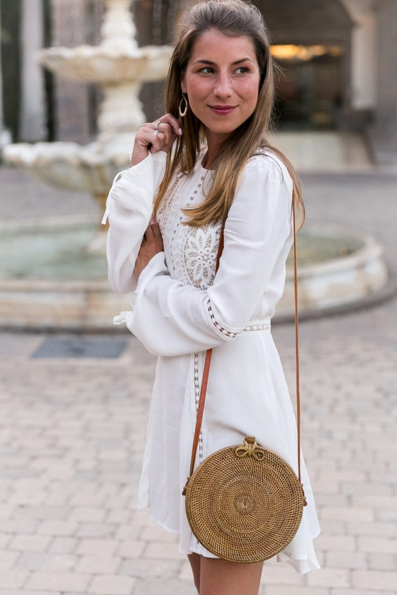 Lace dress gray  White Lace Dress u Round Bali Bag  White lace dresses White lace