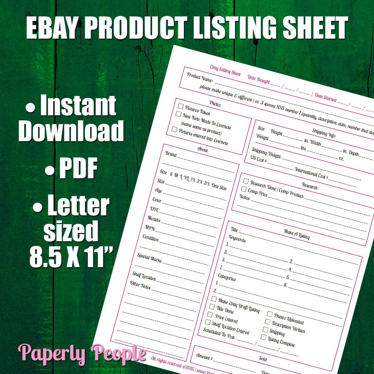Ebay Products Listing Sheet