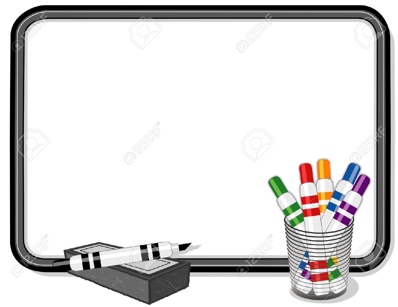 whiteboard with multicolor marker pens royalty free cliparts vectors and stock illustration. Black Bedroom Furniture Sets. Home Design Ideas