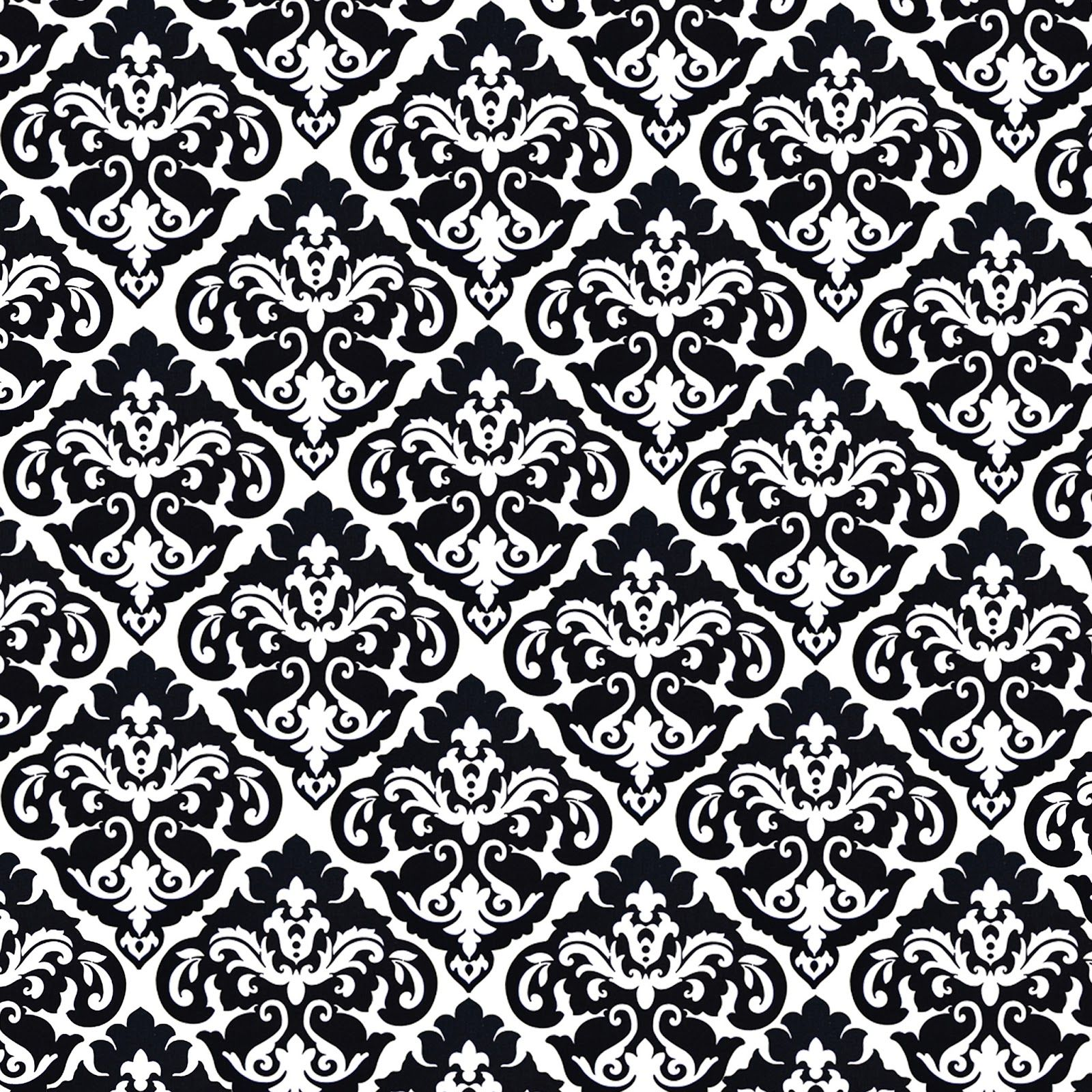 Huge sheet damask tight weave floral black and white free for Black white damask wallpaper mural
