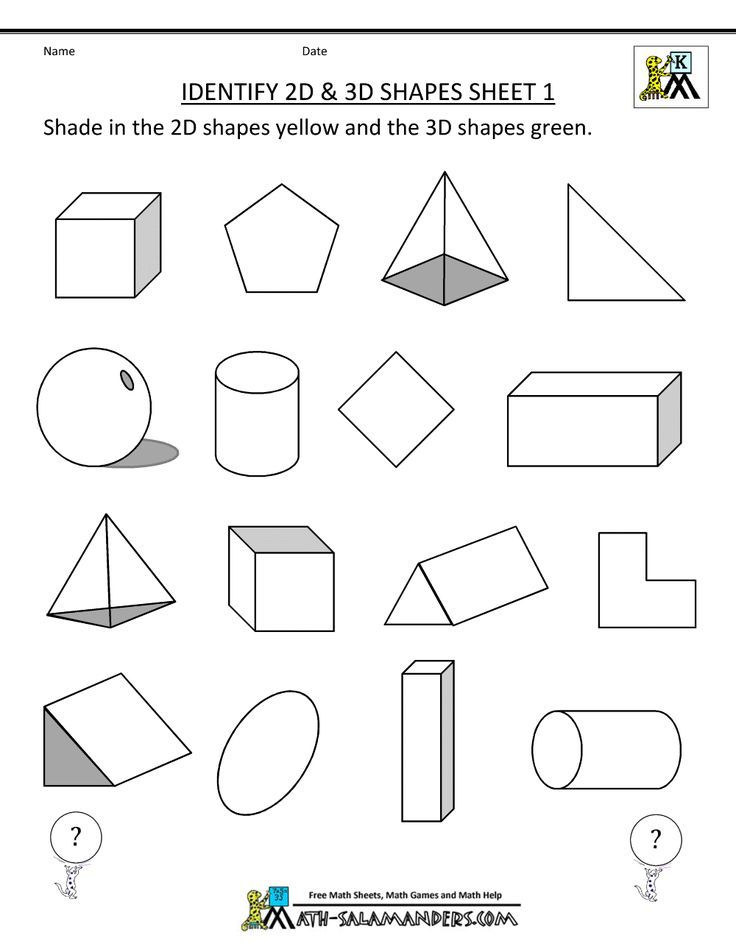 Printable Worksheets 2d & 3d shapes worksheets : Worksheets for shape and form -instead have them shade according ...