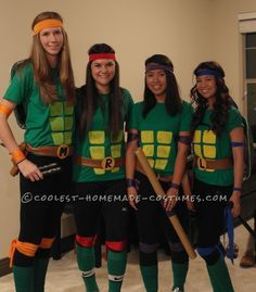 Cool homemade ninja turtles costume for a group of girls turtle cool homemade ninja turtles costume for a group of girls solutioingenieria Image collections