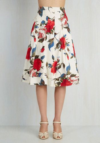 Profound Pizzazz Skirt in Roses | White midi skirt, Vintage ...