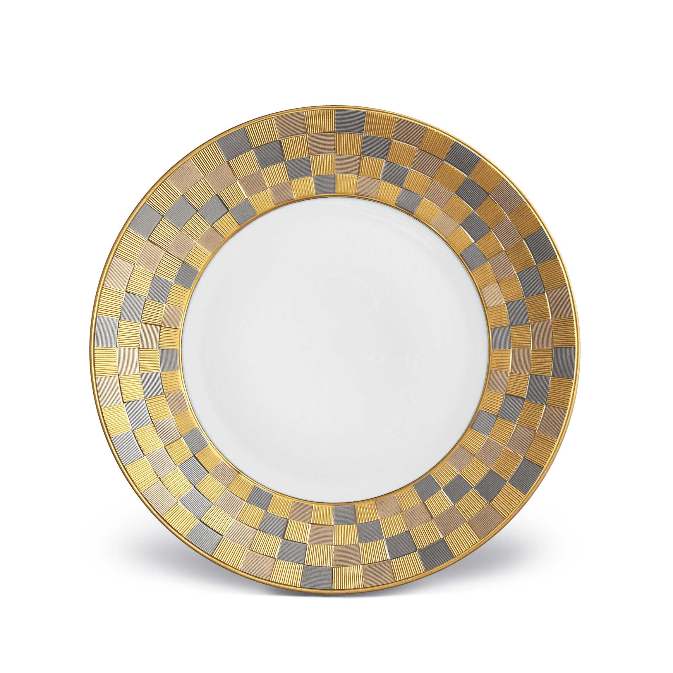 With the rise of the Byzantine empire in the 5th century, the art of mosaic took on brilliant new applications, inspiring artisans ever since. In homage to these marvelous, geometric arrangements, the Byzanteum dinnerware collection reinterprets the ancient craft in an innovative and contemporary fashion, with rich textures brought to life through a variety of meticulously detailed finishes. Available in white, 24K gold, platinum and tri-color.
