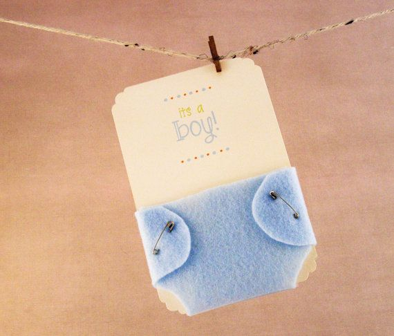 Boy Baby Shower Invitations Blue Diaper Felt And Cardstock