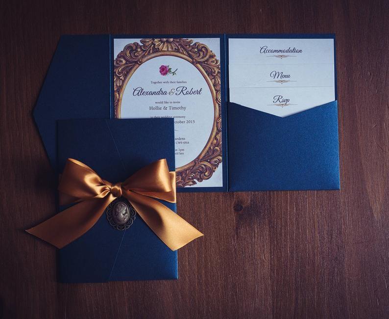 Beauty and the beast wedding invitation navy wedding