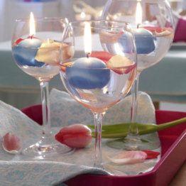 Centros de mesa con copas ~ Portal de Manualidades