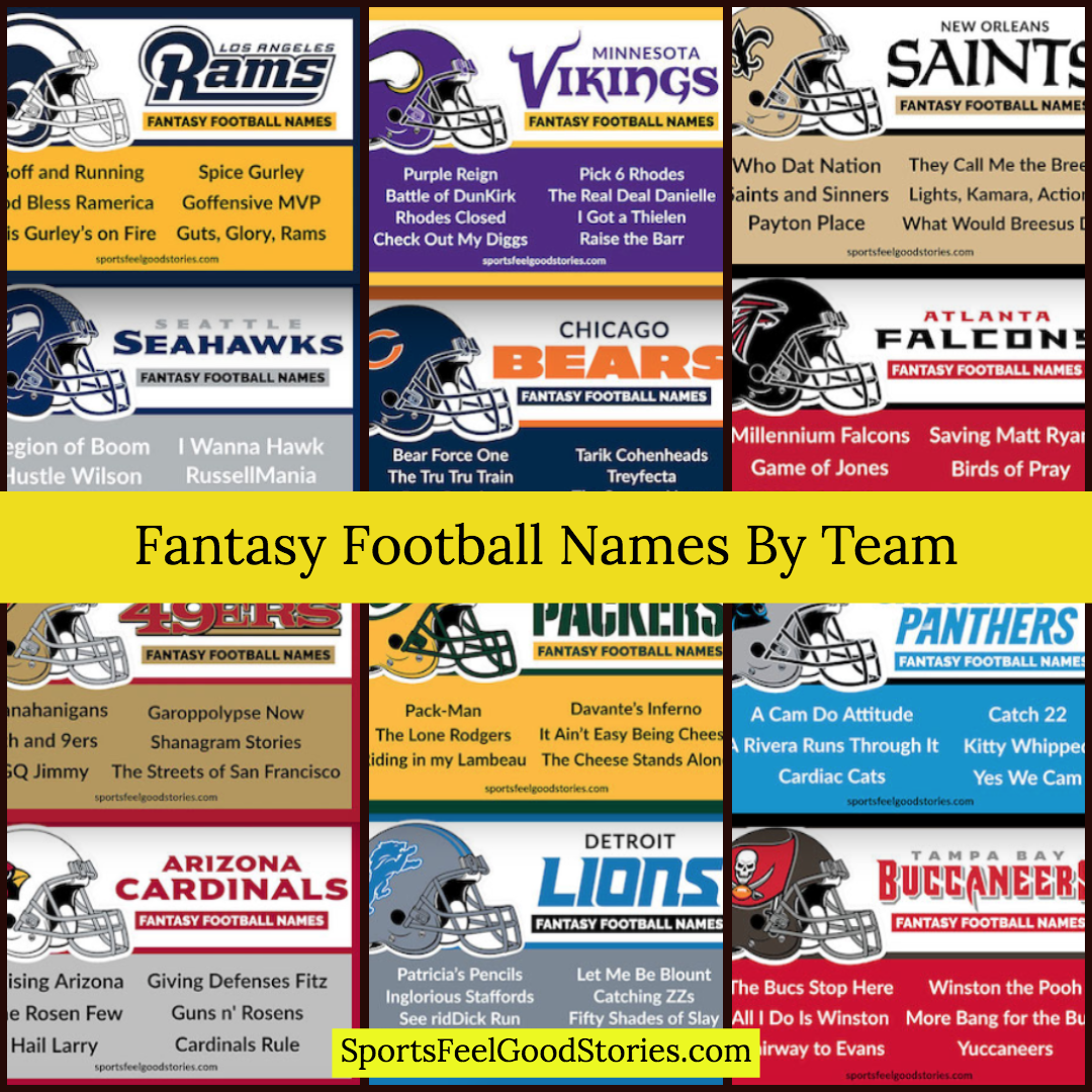 Best Fantasy Football Names Sorted By Team Sports Feel Good Stories Fantasy Football Names Football Names Fantasy Football