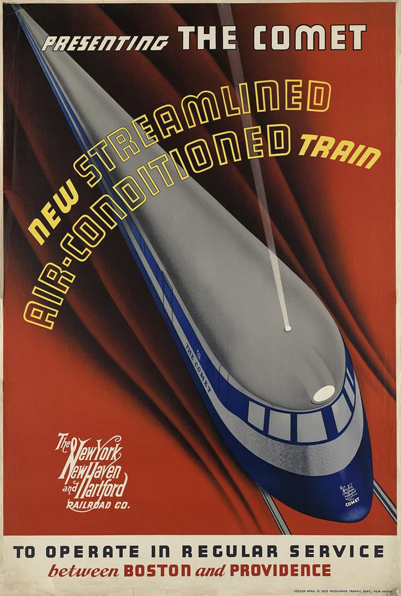 Art Deco Poster Travel Print BOSTON RAILWAY TRAVEL Poster Art Deco Print Retro A