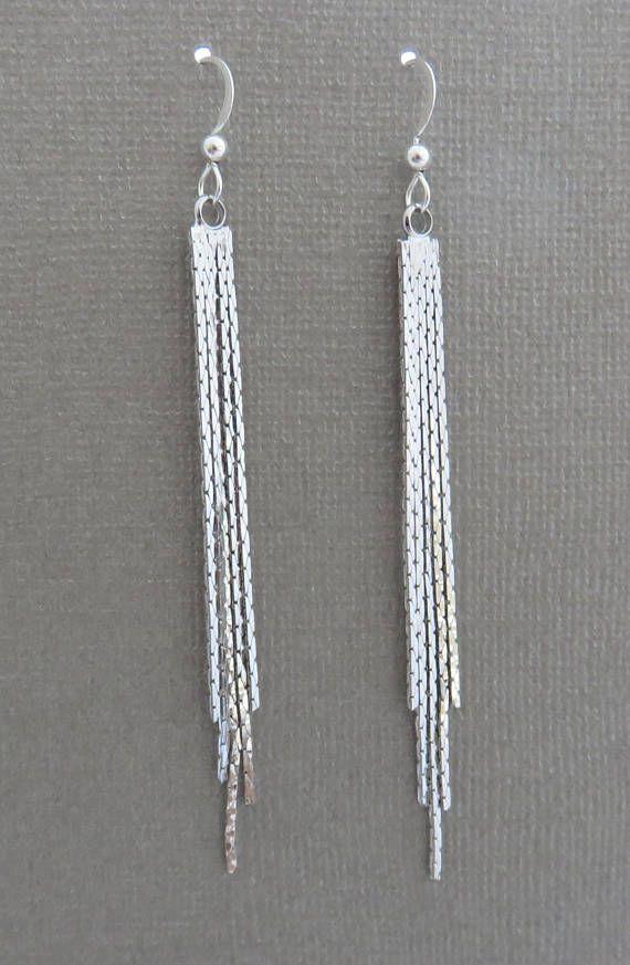 31957c33bc8c1b Sterling Silver Fringe Earrings | Silver Tassel Earrings Handmade Jewelry  by MarciaHDesigns | Earrings for Her