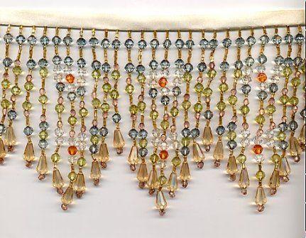Lamp shade crystal fringe by yards long sage green and clear lamp shade crystal fringe by yards long sage green and clear with golden beige braid aloadofball Gallery