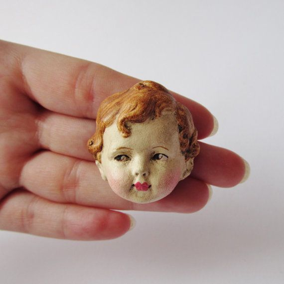 Dottie's Doll Brooch Timothy  Paperclay Antique by DottieDollie