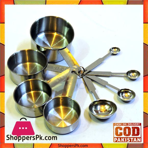 411334f97c1 On Sale  Stainless Steel Measuring Cups and Measuring Spoons 8 - Piece Set  in Pakistan