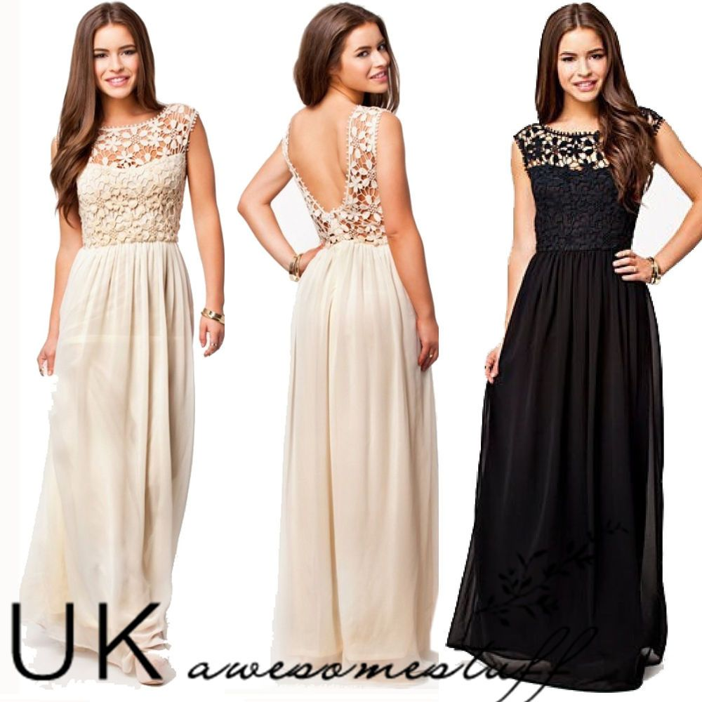 UK Formal Long Lace Women Prom Evening Party Bridesmaid Wedding Maxi Dress In Clothes Shoes