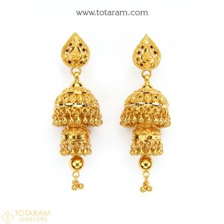 93492272098295 22K Gold Jhumkas (Buttalu) - Gold Dangle Earrings - 235-GJH1853 - Buy this  Latest Indian Gold Jewelry Design in 17.150 Grams for a low price of $910.80