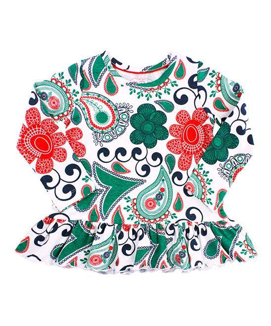 White & Green Festive Paisley Peplum Top - Infant