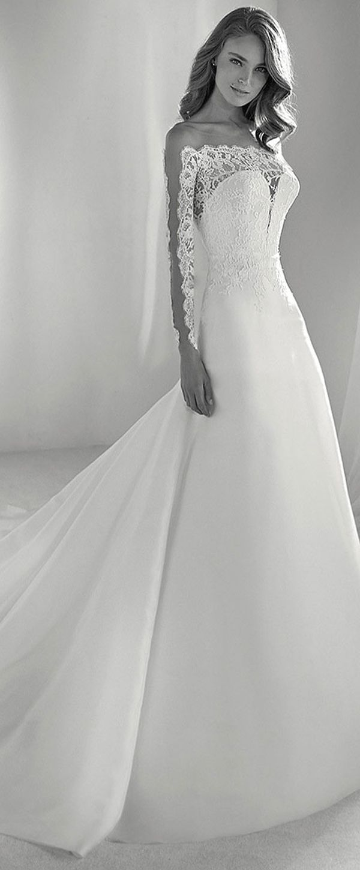 Gorgeous tulle u organza bateau neckline aline wedding dress with