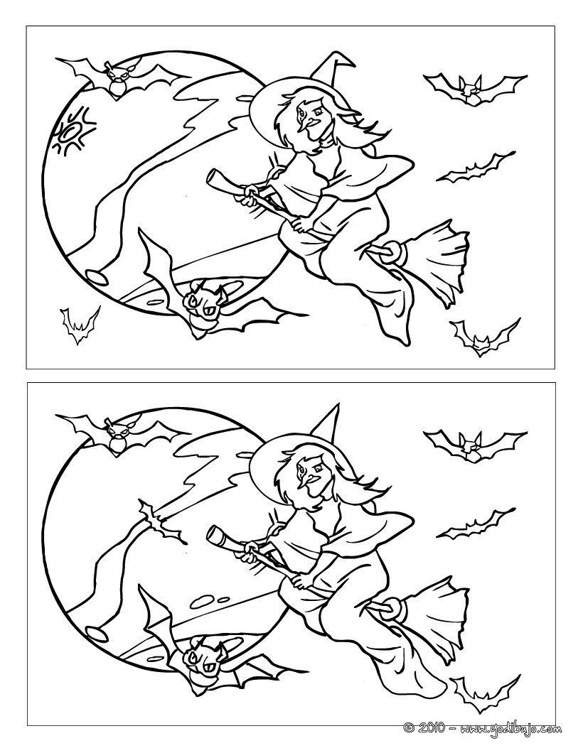 Juegos de DIFERENCIAS para niños - BRUJAS   brujas/halloween   Pinterest