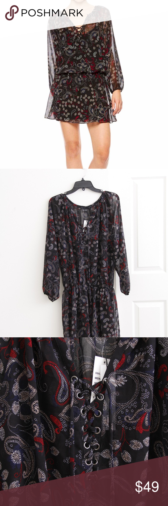 Sanctuary Cachet Boho Dress MIDNIGHT PAISLEY.  Split neck with lace-up ties. Long sleeves with elasticized cuffs. Black Stretch lining. 100% polyester.  True to size.XS=0-2, S=4, M=6-8, L=10-12, XL=14.  Condition: Storestock Item. - may have been worn inside a fitting room. - may have been stored for quite some time.  #37 Sanctuary Dresses Mini