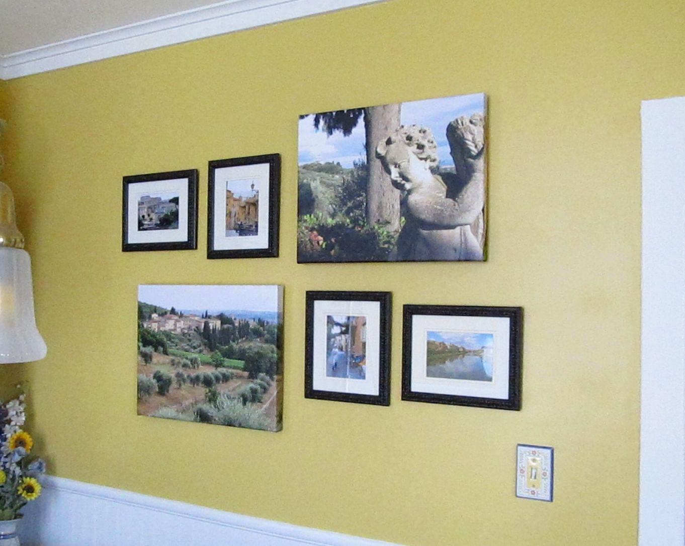 5x7 and canvas arrangement | Photo Wall Arrangements | Pinterest ...