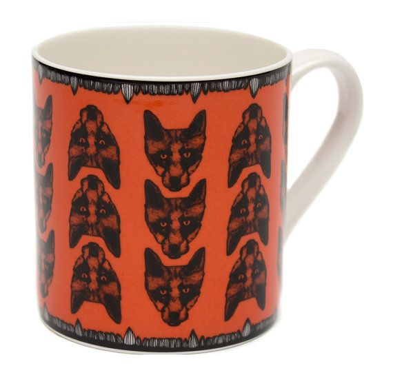 Illustrated Fox Mug in Coral, Designed by Lisa Bliss for Graduate Collection.
