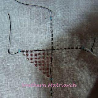 Hilo tirado sobre lino, tutorial: Southern Matriarca