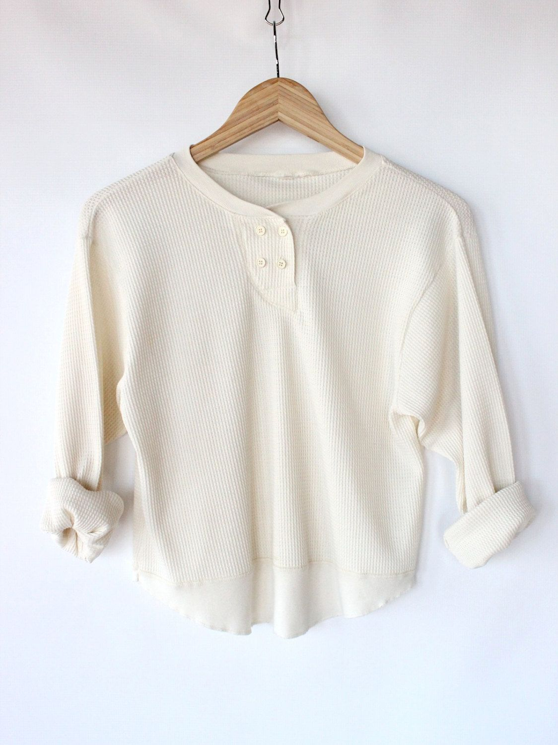 676168292e2e5 Vintage 70s White Henley Thermal Shirt // Womens Rustic Outdoors ...