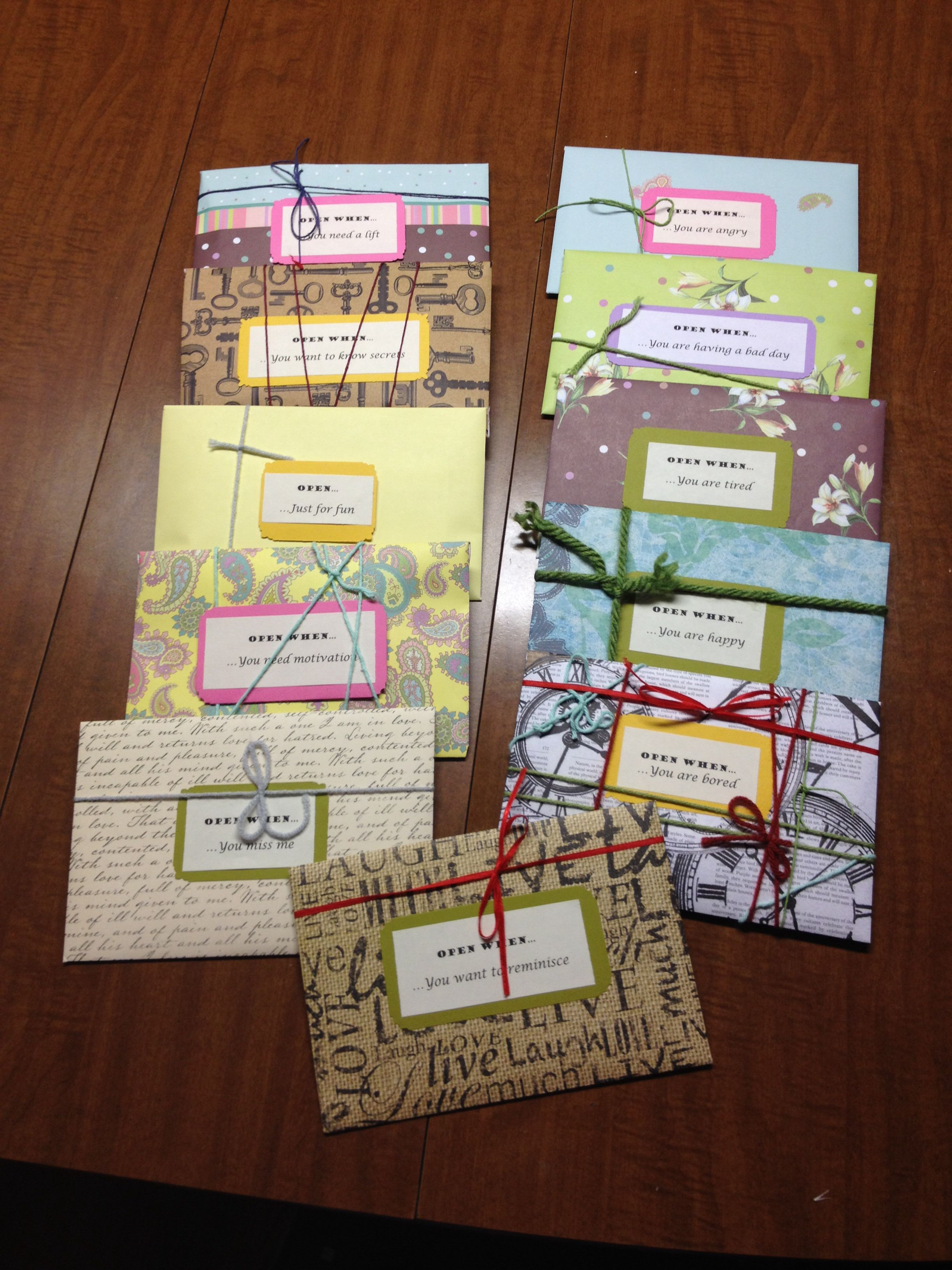 Open When envelopes.... Perfect gift for distanced friends
