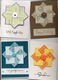 love these pinwheels made from punched squares - would be great for scrapbook pages about quilts.