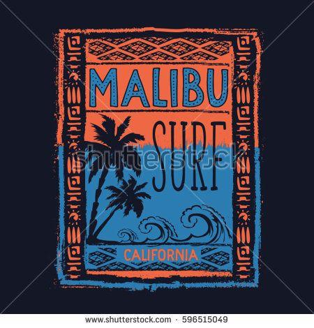 Surf sport Malibu typography, tee shirt graphics, vectors