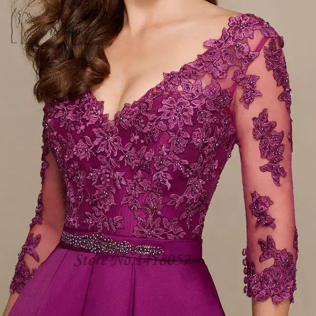 Vestido de fiesta Longo púrpura mujeres vestidos formales vestidos largos de noche madre vestidos de encaje 3/4 mangas satén cuello en V espalda Vestido para graduación con cuentas