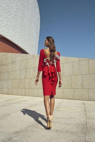 aeb151722 Vestido cóctel día con adorno floral