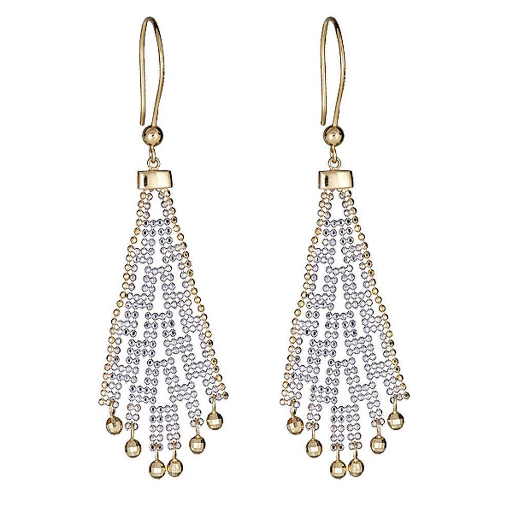 b14d0cced3a4 14K Two-Tone Gold Diamond-Cut Beaded Chandelier Dangling Earrings (eBay  Link)