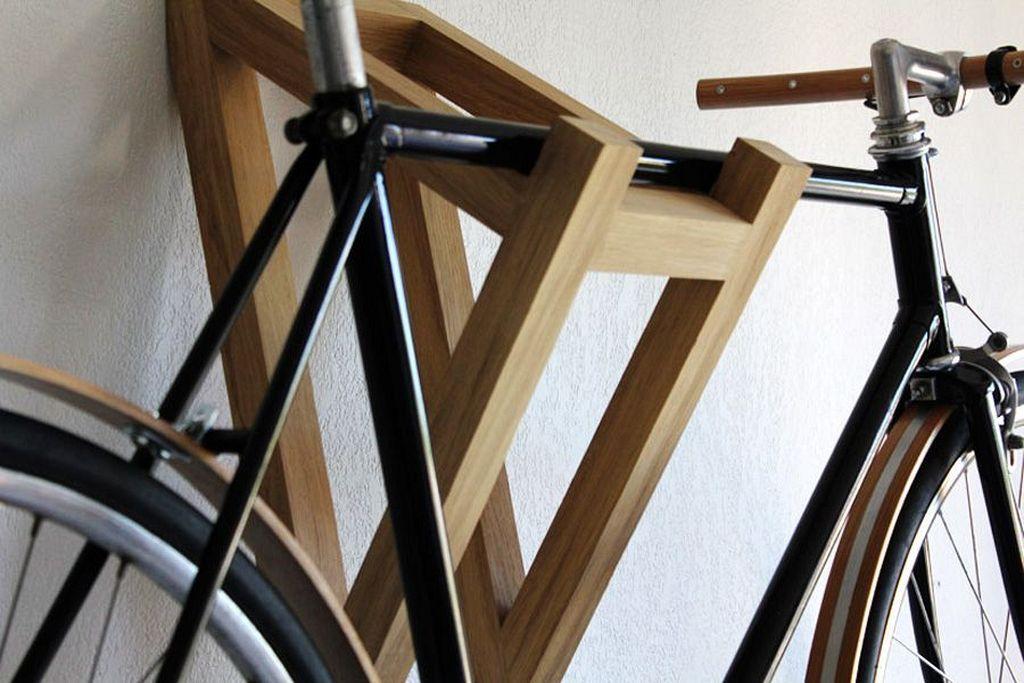 20 Simple Wooden Wall Bike Rack Designs For Inspiration Bike
