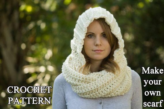 Crochet Pattern Hooded Scarf Pattern Crochet Scoodie Instant