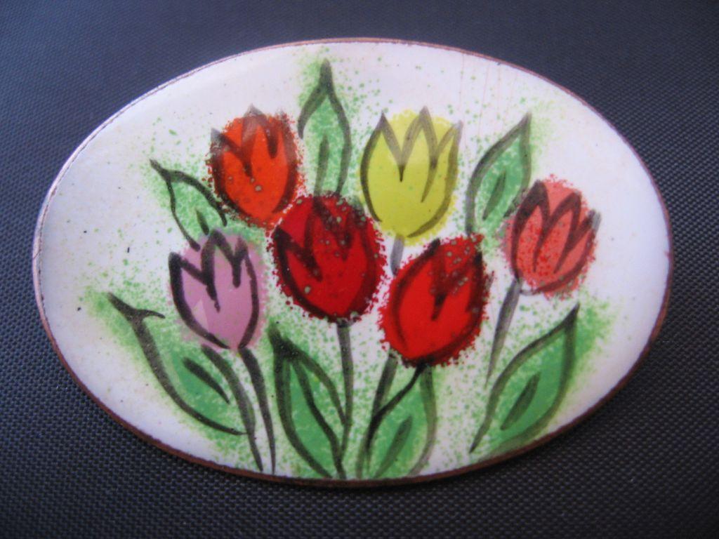 Vintage Enamel Tulip Pin-Brooch