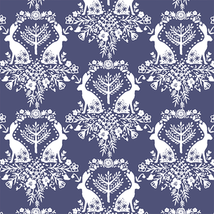 Hawthorne Threads - Cottontail - Cottontail Damask in Indigo #cottontailfabric #hawthornethreads