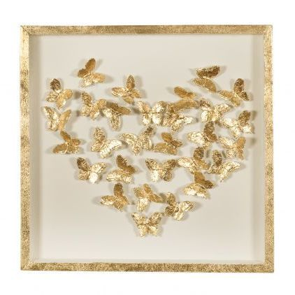 Gold Framed Heart & Butterflies Picture | Gold Leaf | Romantic Wall ...
