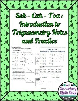 Soh+Cah+Toa+(Sin,+Cos,+Tan)+Introduction+To+Trigonometry+Notes+and+ ...