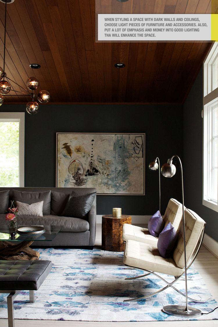 Light Floor Dark Walls Light Graphic Rug Interior Interior