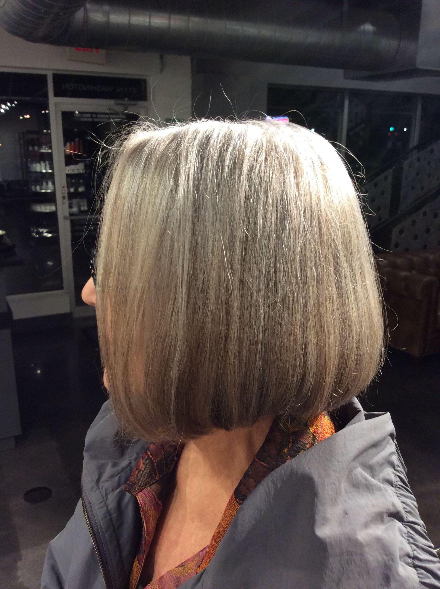 classic bob haircut. growing out natural gray hair. | short