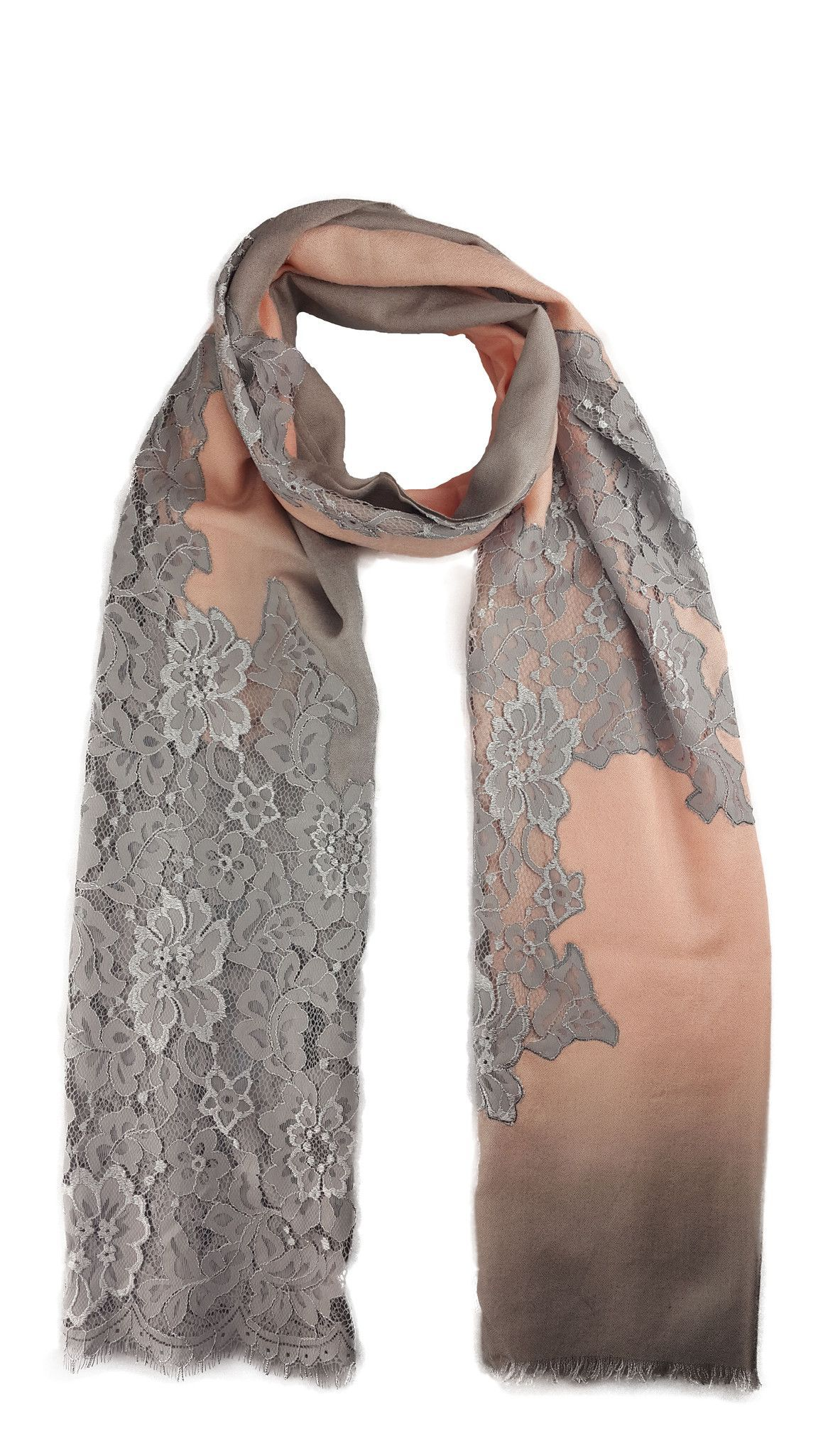 NUDE PINK AND GREY OMBRE LACE MERINO WOOL SILK SCARF
