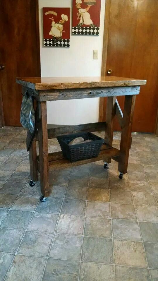 Kitchen Island from pallet wood, with FDA approved coating