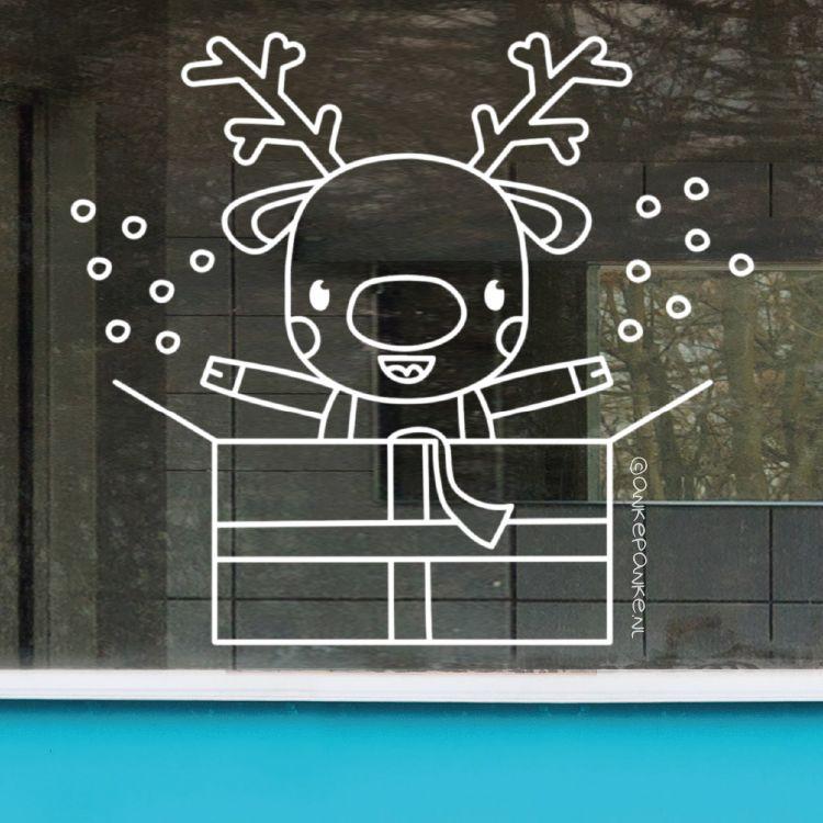 Kerst kadootje rendier raamtekening
