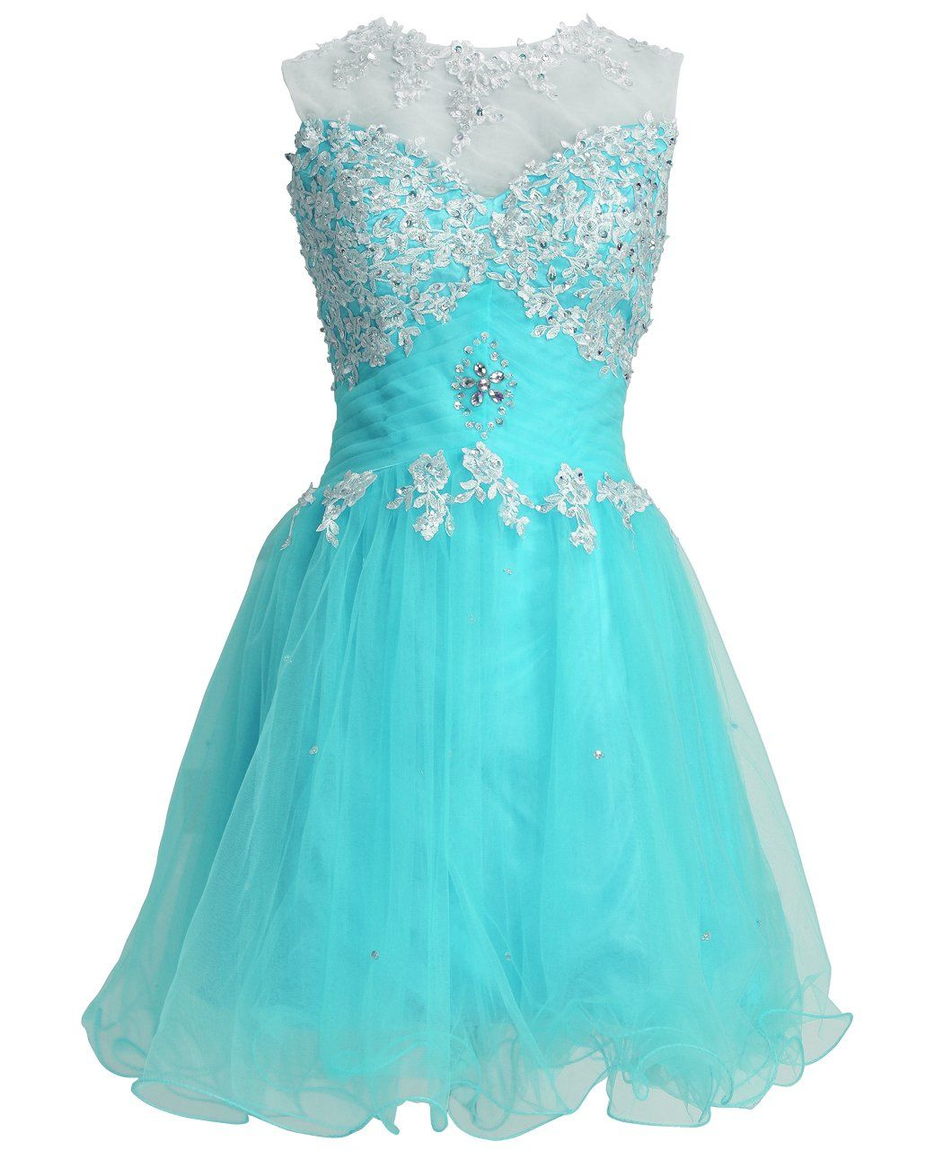 Fashion Plaza Mini Princess Illusion Neck Cutout Back Party Dress ...