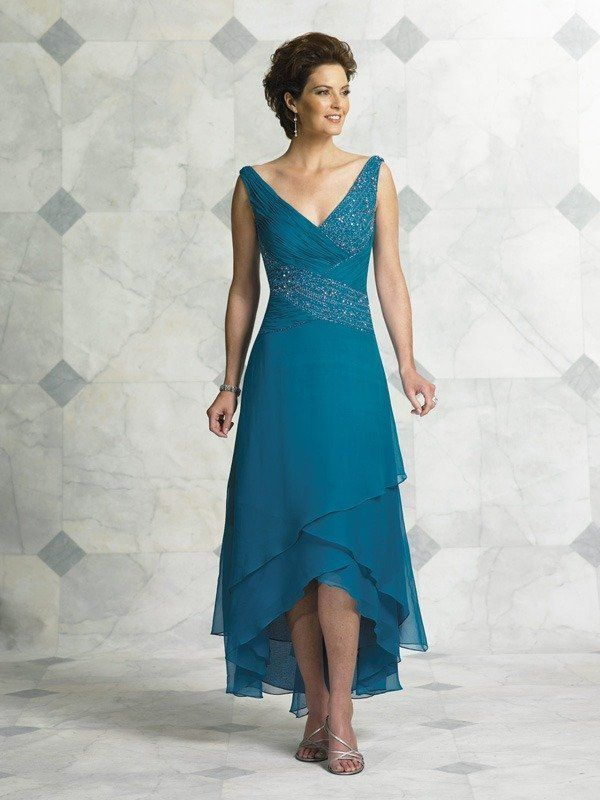 Teal Blue Tea Length Mother Of The Bride Dresses For Weddings V Neck Beaded Chiffon Plus Size Vestido Madre De La Novia Corto