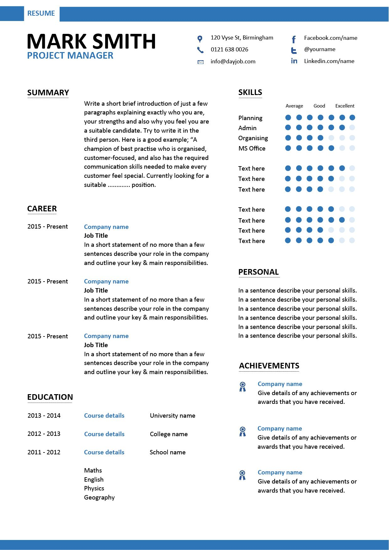 A Project manager resume that has a modern design and