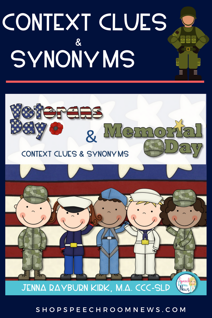 Veterans Day And Memorial Day Vocabulary Activities Context Clues